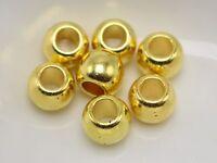 200 Gold Tone Metallic Acrylic Round Pony Beads 8X6mm Big Hole Spacer