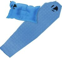 Recreation Travel Camping Inflatable Sleeping Pad & Pillow Lightweight Mat Blue