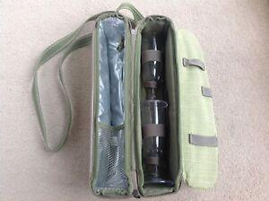 Picnic at Ascot Green Wine Champagne Cool Carry Bag & 2 Plastic Glasses Picnic