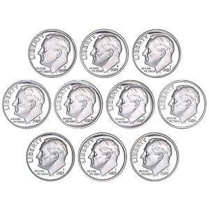 1980-1989 S Roosevelt Dime Gem Proof Run 10 Coin Decade Set US Mint Lot