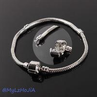 New 1/10pcs Snake Chain Silver /P Charm Bracelets Fit European Beads