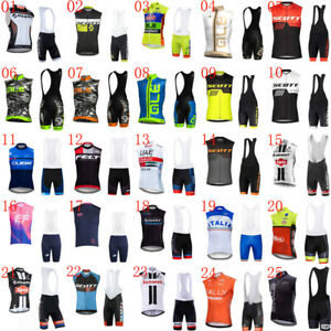 Mens Cycling Sleeveless Jersey Vest Bib Shorts Set Summer quick dry Bike Outfits