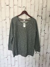 motherhood maternity Womens Sweater Size Large Gray Crew Jeweled Neck