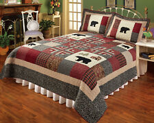 ASPEN HEIGHTS 3pc ** King ** QUILT SET : BLACK BEAR RED IVORY PLAID LODGE CABIN