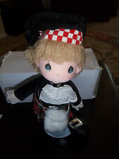 """1985 PRECIOUS MOMENTS DOLL """"ERIC"""" APPLAUSE SCOTTISH OUTFIT KILT with stand"""