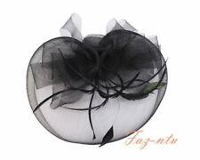 Gauze Hat Head Clip Flower Fascinator Red Navy Black Cream Pink Wedding Occasion
