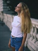 New! brandy melville white cropped MASON California EMBROIDERY TOP sz S/M