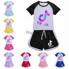 Kinder Tik Tok T-shirt +Shorts Mädchen Jungen Sommer Kurzarm Sport Anzug 8 Farbe