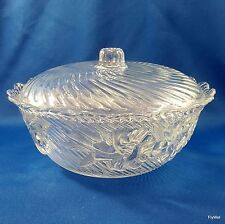 """KIG Malaysia Covered Candy Dish Swirl Embossed Flowers Scalloped Rim 7"""""""