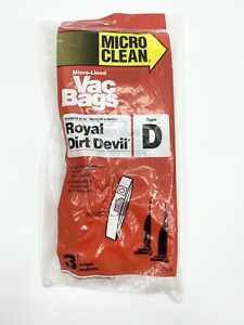 Micro Clean Micro-Lined Vac Bags Type D For Royal Dirt Devil 3 Bags No. 3955