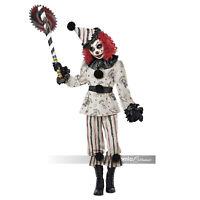 Girls Retro Vintage Killer Creeper Clown Halloween Costume + Mask Hat Child M-XL