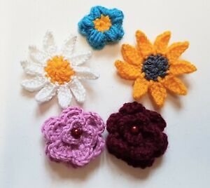 Crochet Flower Brooch Unique Daisy Sunflower Rose Forget-me-not Spring Gift