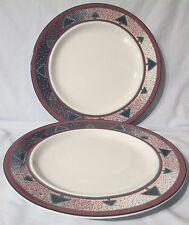 Dansk Red, Green, Blue On White Winterfest Dinner Plate Pair
