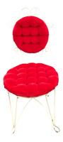 Vintage Teena Original Hollywood Regency Red Velvet Vanity Chair