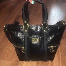 Coach Daisy Poppy Liquid Gloss Black Patent Pocket Tote Shoulder Bag Purse