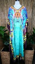 Plus Size Satin-Like Embellished Long Kaftan Dress One Size 16 to 26 Free Post
