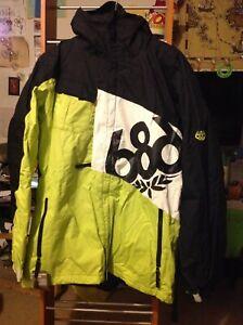 NEW 686 Mannual Iconic 8k Neon Green, Black & White Snowboard Jacket XL X-Large
