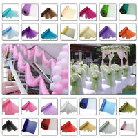 25m x 29cm Snow Sheer Organza Rolls Glitter Fabric Chair Bows Sash Party Decor