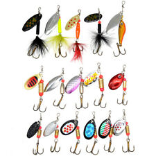 10 x Fishing Lures Metal Spinner baits Tackle Box Kit Bass Trout Salmon Walleye