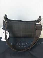 100% GENUINE Burberry Shoulder Handbag Brown Check Canvas Leather w/Dust Bag Tag