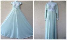 VTG Olga Nightgown Peignoir Set Robe BLUE Stretch Lace HUGE SWEEP Secret Hug S