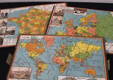 Ancien jeu puzzle bois Patience Géographique MJB MB France Europe Monde 41*32 cm