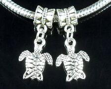 30pcs Tibetan Silver Cute Turtle Dangle Charm Fit Bracelet ZY220