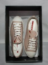 Sneakers Prada Women Leather Beige 3E 5876 Patent Lace Up Size US 5/36 EUR