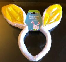 Fluffy White And Shimmering Yellow Rabbit Ears Headband 🐰