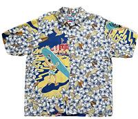 Joe Kealoha Hawaiian Aloha Shirt Button Up Floral Surfboard Short Sleeve XL