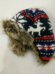 Lands' End Boys Chunky Knit Trapper Hat, Extra Small/ Small, Reindeer Fairisle!