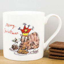 New Quentin Blake Cat & Mince Pies Merry Christmas China Personalised Gift Mug
