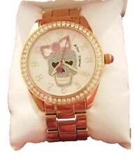 BETSEY JOHNSON Bone Pink Bow SKULL Bracelet Gold WATCH BJ00048-185