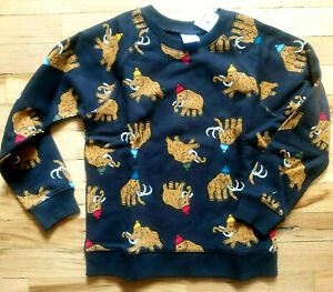 NWT HANNA ANDERSSON COZY CRITTER MERRY MAMMOTHS SWEATSHIRT 130 8, 140 10