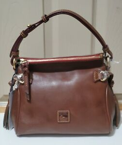 NWT Dooney & Bourke Small Florentine Chestnut Leather Zip Hobo