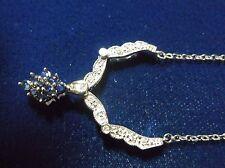 10K WHITE GOLD DIAMOND SAPPHIRE INTERCHANGEABLE PENDANT NECKLACE