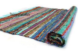 Indian Chindi Rag Rug Traditional Rug Cotton Hand Woven Area Rug Floor Decor Mat