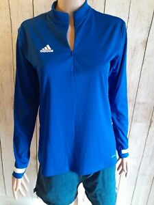 NWT-Adidas Training 19 Small Climacool Dri-Fit Blue White. 1/4 Zip Longsleeve