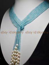 Long Charming 3 Strands 4mm Blue Aquamarine Beads & White Pearl Necklac 50 Inch