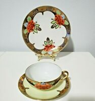 Nippon Hand-Painted Tea Cup Saucer and Dessert Plate Trio Set