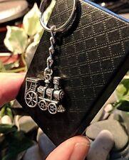 Handmade Silver Steam Train Locomotive Keyring / Handbag Charm Father Gift.