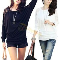 White Black Sexy Womens Ladies Batwing Lace Long Sleeve Loose T-Shirt Blouse Top