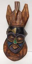 "Africa Kenya Ethiopia Wood Mask Face Beaded Hand Carved Tribal 13""x 6"" Vintage"