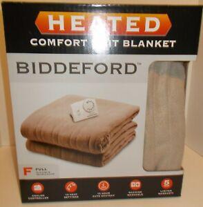 Biddeford Comfort Knit Fleece Heated Electric Blanket, Full, (72In x 84In) Beige