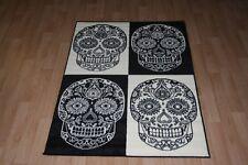 Quality Black WhiteSkull Rug 120cm x 170cm Skull Cross-Bone Print Twist Rug