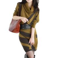 Women Winter Dress Knitted Large Size Long Sleeve Stripe Warm wool Sweater Dress