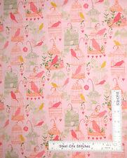 Bird Cage Birdies Cotton Fabric Pink Peach Timeless Treasures C3641 ~ Yard
