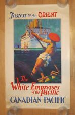 Original Vintage Poster CANADIAN PACIFIC - FASTEST TO THE ORIENT Ship Travel