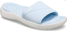 Womens CROCS Reviva Recovery Slide Sandals Mineral Blue / White