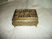 JEWELED FILIGREE JEWELRY CASKET VANITY BOX PURPLE VELVET VINTAGE MID CENTURY